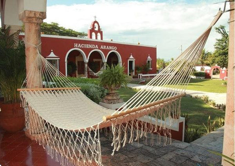 American Style Mayan Hammock with Spreader Bar- Natural-Mayan hammock-SUNNYDAZE DECOR-Hammock UP