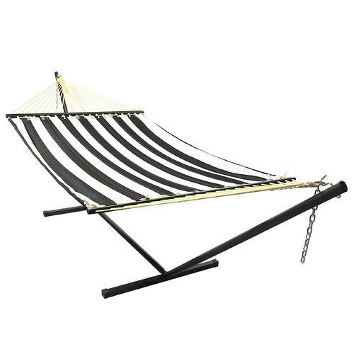 Black Quilted Double Fabric Hammock with Spreader Bar Combo-Combo-SUNNYDAZE DECOR-Hammock UP