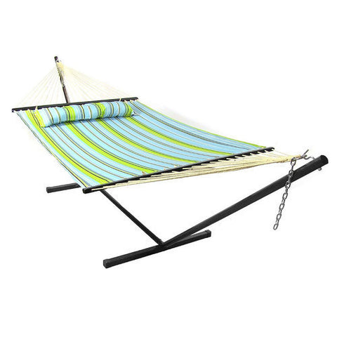 Blue and Green Quilted Double Fabric Hammock with Spreader Bar and Pillow Combo-Combo-SUNNYDAZE DECOR-Hammock UP
