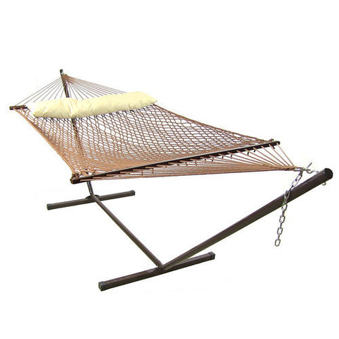 Brown Polyester Rope Hammock with Pillow Combo-Combo-SUNNYDAZE DECOR-Hammock UP