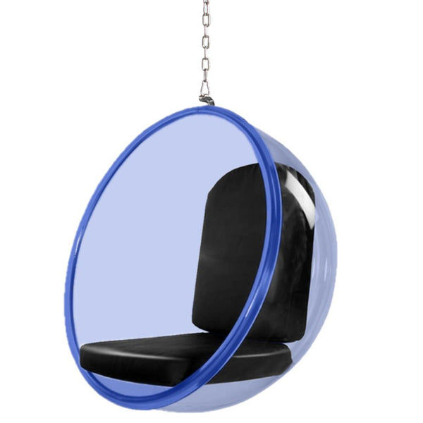 Bubble Hanging Chair Blue Acrylic-Hanging Chair-Fine Mod Imports-Black-Hammock UP