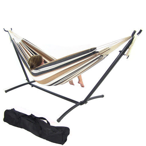 Calming Desert Cotton Double Brazilian Hammock & Stand Combo-Combo-SUNNYDAZE DECOR-Hammock UP