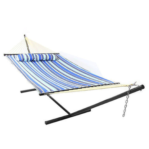 Catalina Beach Quilted Double Fabric Hammock with Spreader Bar and Pillow Combo-Combo-SUNNYDAZE DECOR-Hammock UP
