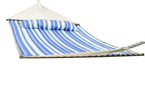 Catalina Beach Quilted Double Fabric Hammock with Spreader Bar and Pillow-Fabric Hammock-SUNNYDAZE DECOR-Hammock UP