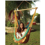 Extra Large Mayan Chair Hammock with Wood Bar - MultiColor-Hammock chair-SUNNYDAZE DECOR-Hammock UP