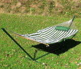 Green/White Stripe Rope Hammock and Stand Combo with Pad and Pillow-Combo-SUNNYDAZE DECOR-Hammock UP