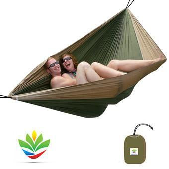 HAMMOCK BLISS Double Hammock - Tan/Green-Hammock-HAMMOCK BLISS-Hammock UP