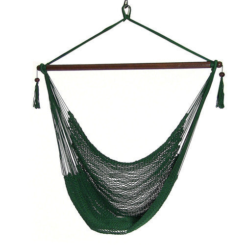 Hanging Caribbean XL Hammock Chair - Green-Hammock chair-SUNNYDAZE DECOR-Hammock UP