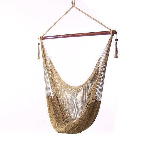 Hanging Caribbean XL Hammock Chair - Tan-Hammock chair-SUNNYDAZE DECOR-Hammock UP