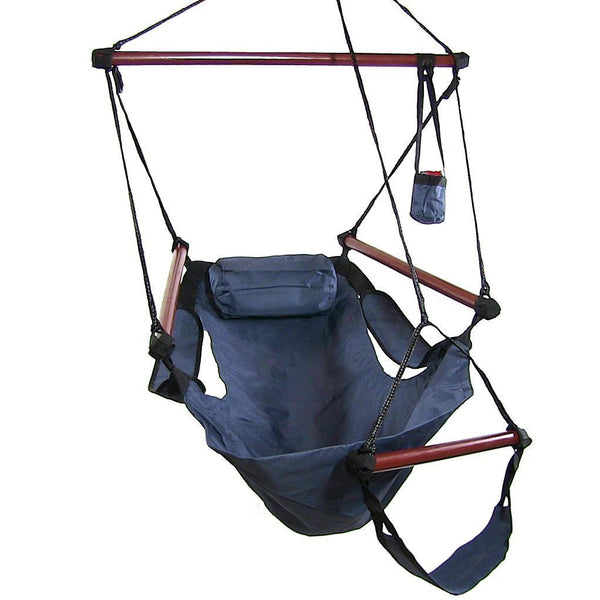 Hanging Hammock Chair with Pillow & Drink Holder-Blue-Hammock chair-SUNNYDAZE DECOR-Hammock UP
