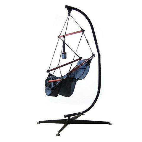 Hanging Hammock Chair with Pillow, Drink Holder & C-Stand - Blue -Combo-SUNNYDAZE DECOR-Hammock UP
