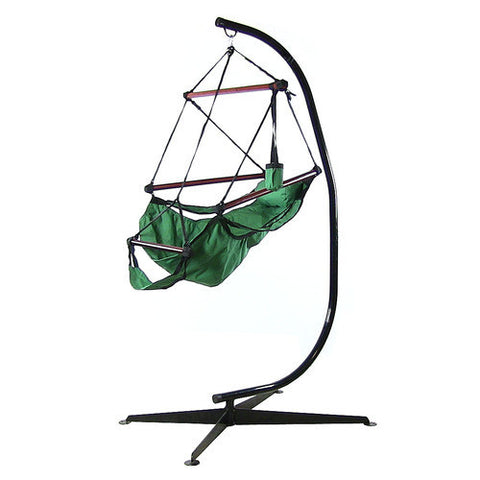 Hanging Hammock Chair with Pillow, Drink Holder & C-Stand -Green -Combo-SUNNYDAZE DECOR-Hammock UP