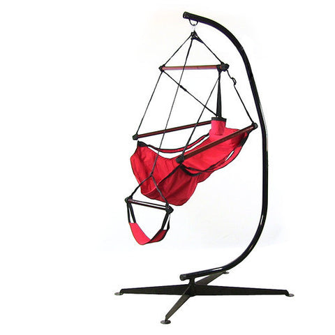 Hanging Hammock Chair with Pillow, Drink Holder & C-Stand - Red -Combo-SUNNYDAZE DECOR-Hammock UP