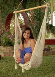 Large Mayan Chair Hammock With Wood Bar- Natural-Hammock chair-SUNNYDAZE DECOR-Hammock UP