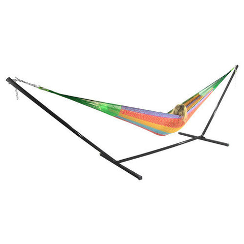 Matrimonial Mayan Hammock and Stand Combo - Multi Colored-Combo-SUNNYDAZE DECOR-Hammock UP