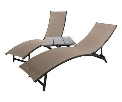 Midtown Lounge 3 Pc Set - Aluminum-Lounger-VIVERE-Cocoa-Hammock UP