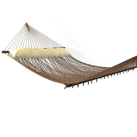Polyester Rope Hammock with Pillow-Brown-Rope Hammock-SUNNYDAZE DECOR-Hammock UP
