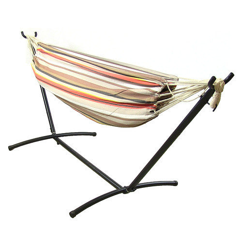 Premium 100 % Natural Tightly Woven Cotton Double Brazilian Hammock and Stand Combo - Beach Sunrise-Combo-SUNNYDAZE DECOR-Hammock UP