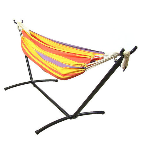 Premium 100 % Natural Tightly Woven Cotton Double Brazilian Hammock and Stand Combo - Summer Breeze-Combo-SUNNYDAZE DECOR-Hammock UP