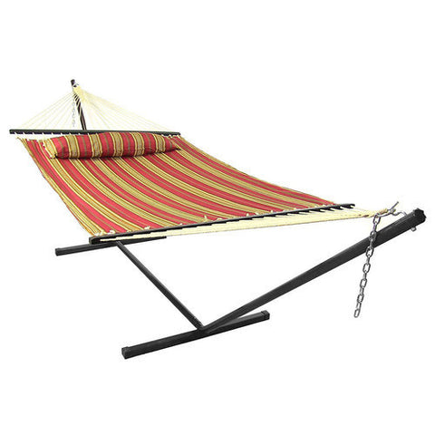 Red Quilted Double Fabric Hammock with Spreader Bar and Pillow Combo-Combo-SUNNYDAZE DECOR-Hammock UP