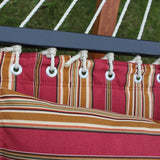 Red Quilted Double Fabric Hammock with Spreader Bar and Pillow-Fabric Hammock-SUNNYDAZE DECOR-Hammock UP