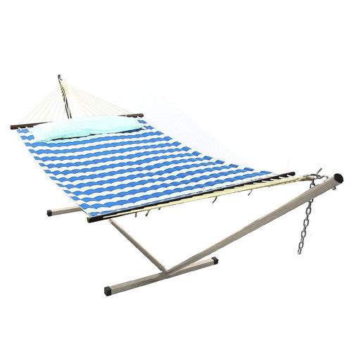 Royal Blue Quilted Double Fabric Hammock with Spreader Bar and Pillow Combo-Combo-SUNNYDAZE DECOR-Hammock UP
