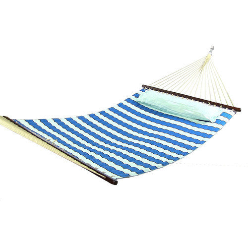 Royal Blue Quilted Double Fabric Hammock with Spreader Bar and Pillow-Fabric Hammock-SUNNYDAZE DECOR-Hammock UP
