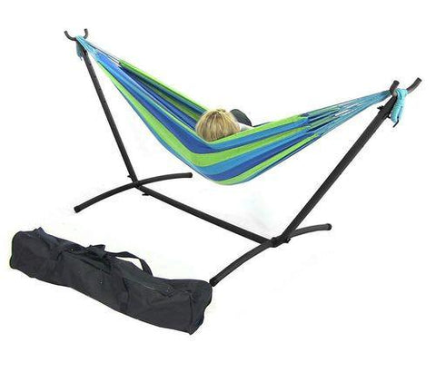 Sunnydaze Decor Cool Breeze Double Brazilian Hammock & Stand Combo-Combo-SUNNYDAZE DECOR-Hammock UP