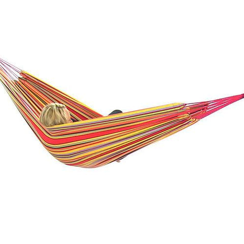 Sunnydaze Decor Cotton Double Brazilian Hammock - Sunset-Fabric Hammock-SUNNYDAZE DECOR-Hammock UP
