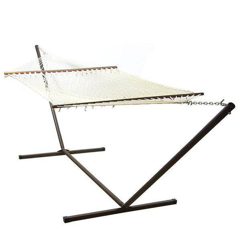 Sunnydaze Decor Cotton Double Wide Rope Hammock with Wood Spreaders and Stand Combo-Combo-SUNNYDAZE DECOR-Hammock UP