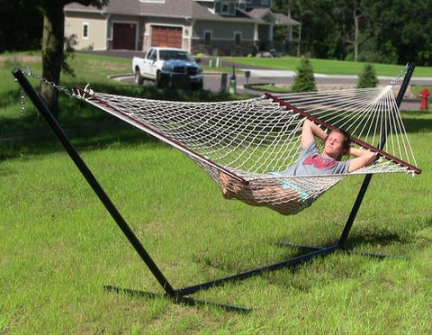 Sunnydaze Decor Cotton Double Wide Rope Hammock with Wood Spreaders-Rope Hammock-SUNNYDAZE DECOR-Hammock UP