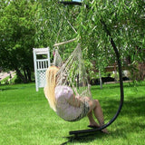 Sunnydaze Decor Cotton Rope Hammock Chair with Wood Bar and C-Stand Combo-Combo-SUNNYDAZE DECOR-Hammock UP