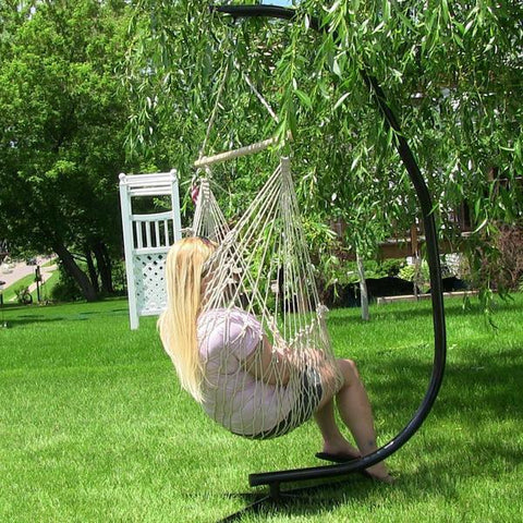 ... Sunnydaze Decor Cotton Rope Hammock Chair With Wood Bar And C Stand  Combo Combo ...