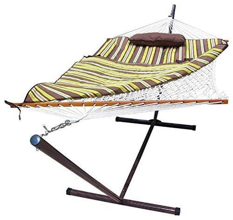 Sunnydaze Decor Desert Stripe Rope Hammock and Stand Combo with Pad and Pillow-Combo-SUNNYDAZE DECOR-Hammock UP