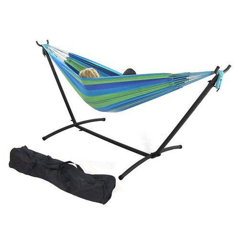 Sunnydaze Decor Double Cotton Brazilian Hammock & Stand Combo - Beach Oasis-Combo-SUNNYDAZE DECOR-Hammock UP