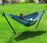 SUNNYDAZE DECOR Double Cotton Brazilian Hammock & Stand Combo - Ocean Breeze-Combo-SUNNYDAZE DECOR-Hammock UP
