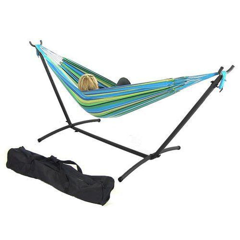 SUNNYDAZE DECOR Double Cotton Brazilian Hammock & Stand Combo - Sea Grass-Combo-SUNNYDAZE DECOR-Hammock UP
