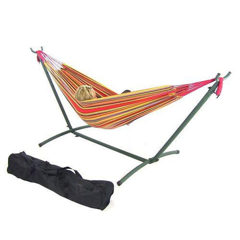 SUNNYDAZE DECOR Double Cotton Brazilian Hammock & Stand Combo - Sunset-Combo-SUNNYDAZE DECOR-Hammock UP