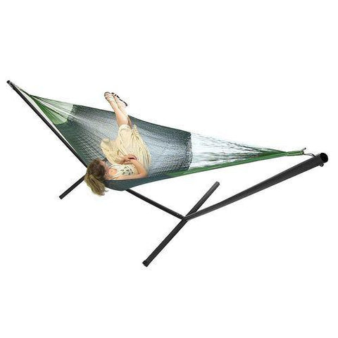 SUNNYDAZE DECOR Double Mayan Hammock and Stand Combo- Green-Combo-SUNNYDAZE DECOR-Hammock UP
