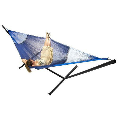 SUNNYDAZE DECOR Family Mayan Hammock and Stand Combo - Blue-Combo-SUNNYDAZE DECOR-Hammock UP