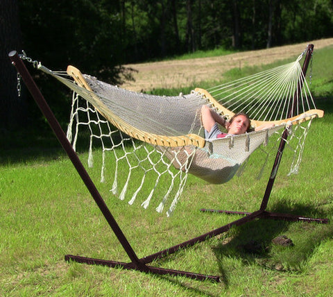 Thick Cord Mayan Hammock Stand Combo - Natural-Combo-SUNNYDAZE DECOR-Hammock UP