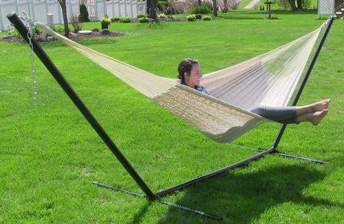 Thick Cord XXL Hammock with Stand- Natural/Black Stand-Combo-SUNNYDAZE DECOR-Hammock UP