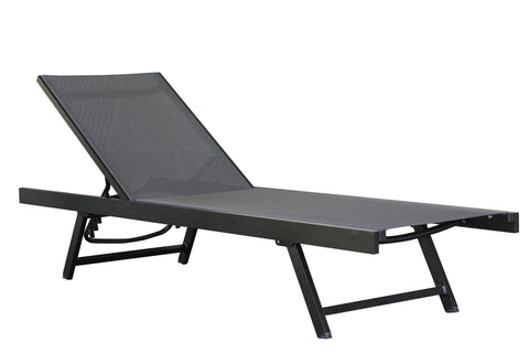 Urban Sun Lounger - Aluminum - Black Chrome-Lounger-Vivere-Hammock UP