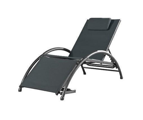 Vivere Dockside Sun Lounger - Aluminum-Lounger-VIVERE-Black Ink-Hammock UP