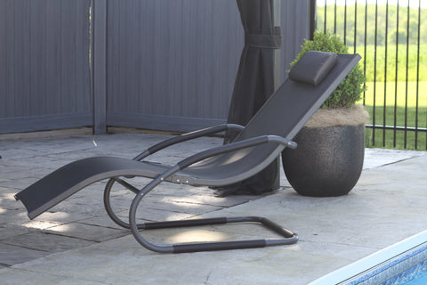 Wave Lounger - Aluminum - Black Chrome-Lounger-Vivere-Hammock UP