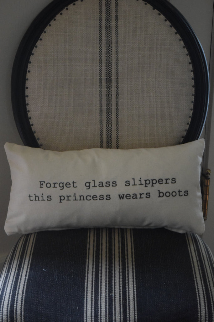 Glass Slippers Quote Pillow - 10 x 20 pillow