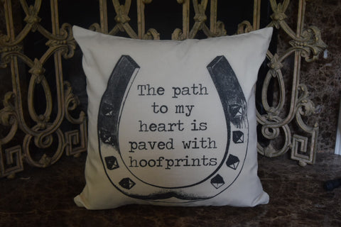 Hoof prints Quote Pillow - 20 x 20 pillow