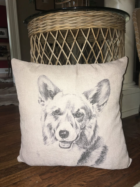 Corgi Head Silhouette Pillow- select from 4 fabrics