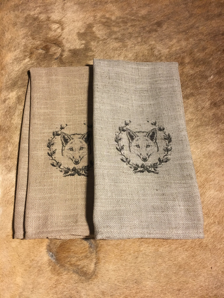 Fox and Wreath Cafe Towels - set of 2