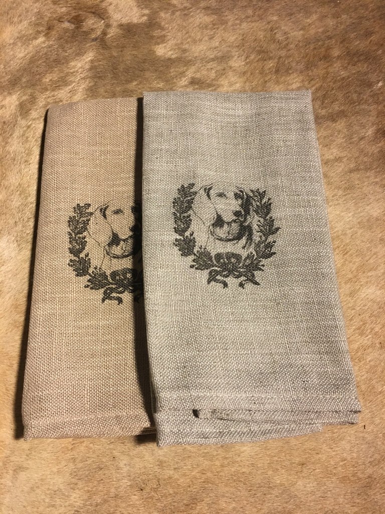 Dog in Wreath Cafe Towels